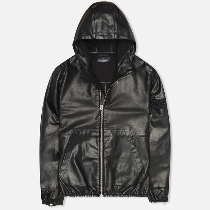 Stone Island Shadow Project Hooded Bonded Leather Jacket Black