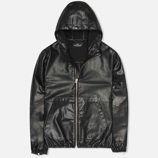 Мужская куртка Stone Island Shadow Project Hooded Bonded Leather Black