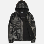 Stone Island Shadow Project Hooded Bonded Leather Jacket Black photo- 1