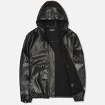 Мужская куртка Stone Island Shadow Project Hooded Bonded Leather Black фото- 1