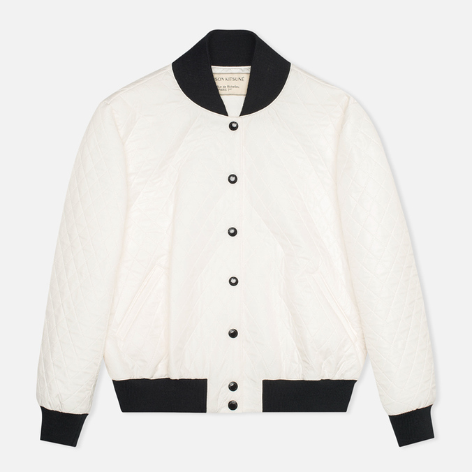 Maison Kitsune Quilted Teddy Women's Jacket Ecru