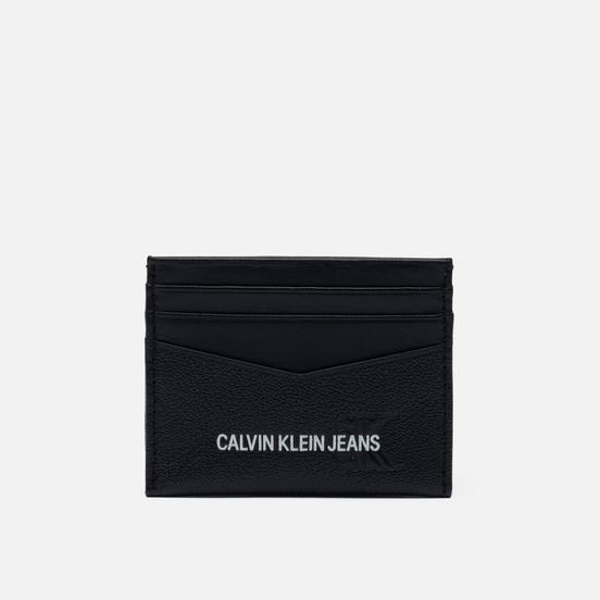 Держатель для карточек Calvin Klein Jeans 6 Card Embossed Print Leather Black