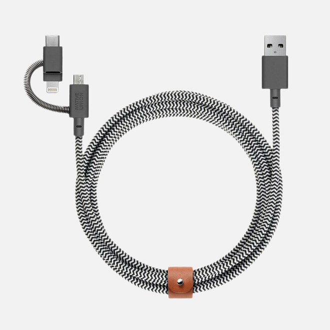 Кабель Native Union 3-In-1 Charging Apple Lightning/USB Type-C/Micro-USB Zebra