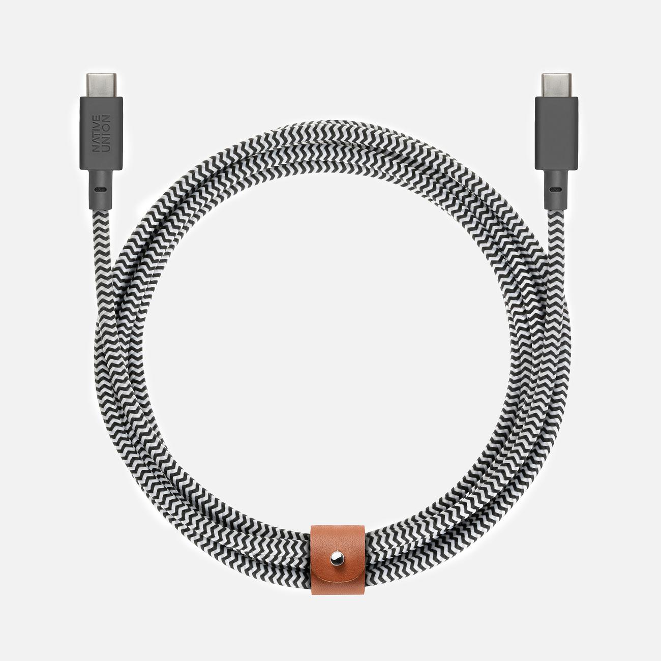 Кабель Native Union Belt USB Type-C/USB Type-C 2.4m Zebra