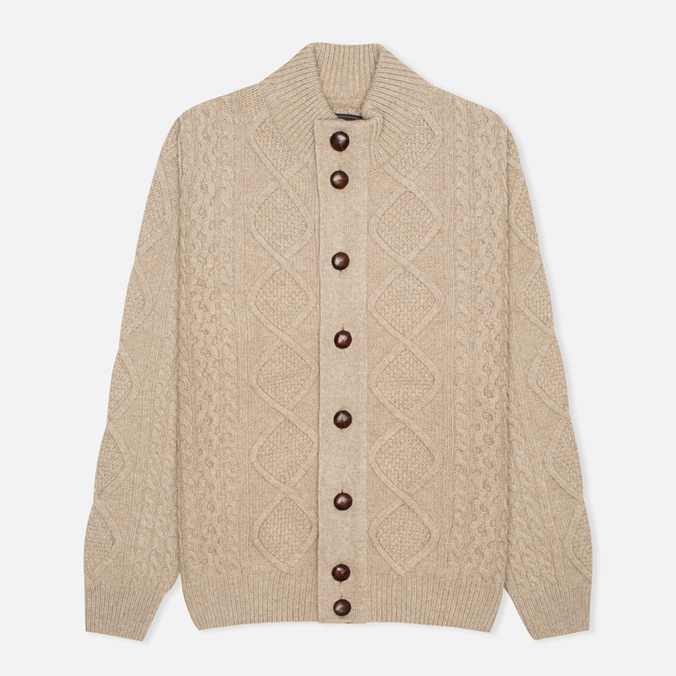 Barbour Kirktown Cable Button Men's Cardigan Stone
