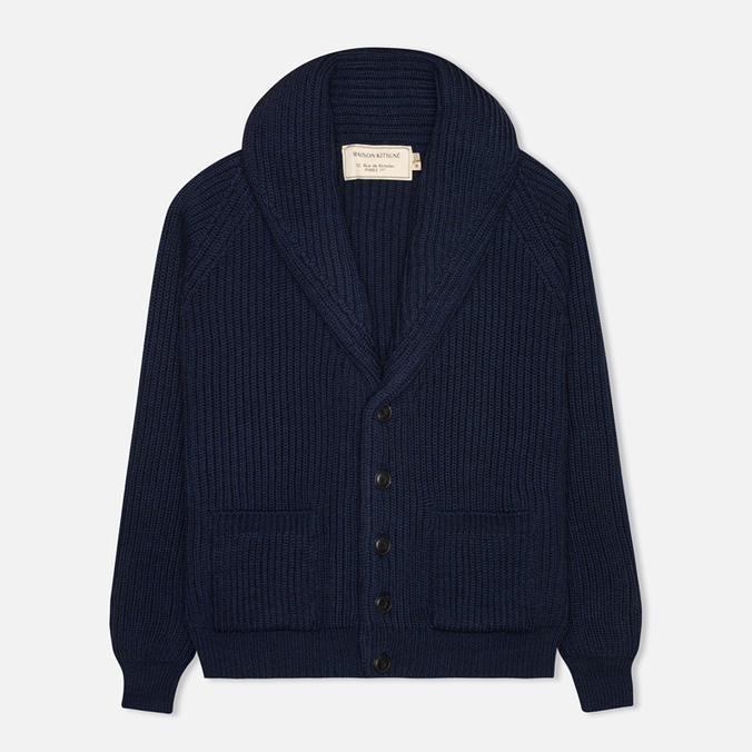 Мужской кардиган Maison Kitsune Rib Wool Dark Blue Melange