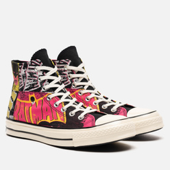 Мужские кеды Converse x Batman Chuck 70 High Black/Hot Pink/Egret