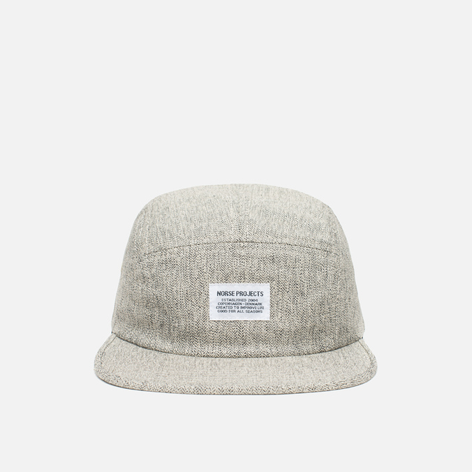 Norse Projects Herringbone 5 Panel Cap Light Grey