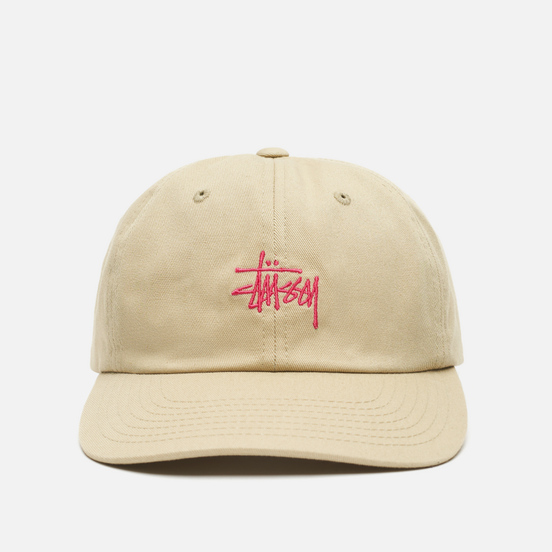 Кепка Stussy Stock Low Pro Embroidered Logo Khaki/Pink
