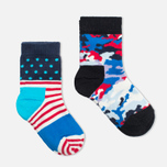 Детские носки Happy Socks 2-pack Camo Dots Blue/Red/White фото- 1