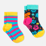Детские носки Happy Socks 2-pack Hawaii Stripe Blue/Orange/Pink фото- 1