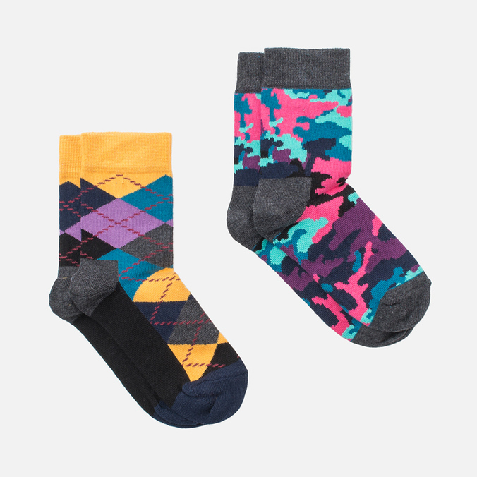 Детские носки Happy Socks 2-pack Bark Blue/Grey/Orange/Pink/Purple