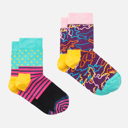 Happy Socks 2-pack Electric Children's Socks Box Black/Pink/Purple/Yellow