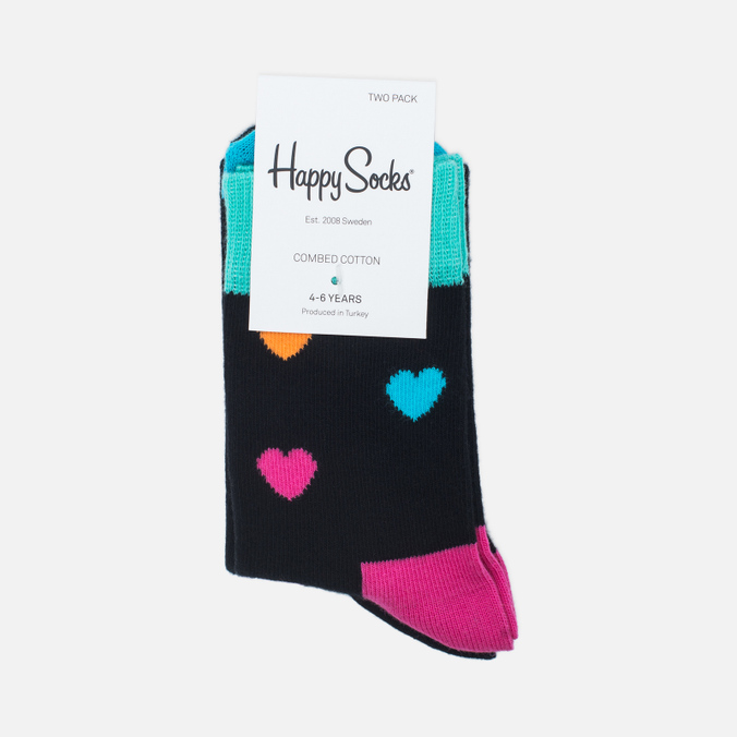 Комплект детских носков Happy Socks 2 Pack Heart Black/Blue/Orange/Pink/Yellow