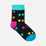 Комплект детских носков Happy Socks 2 Pack Heart Black/Blue/Orange/Pink/Yellow фото- 1