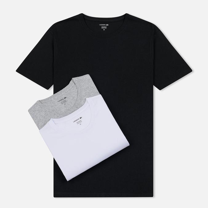 Комплект мужских футболок Lacoste Underwear 3-Pack Classic Fit Crew Neck Black/Grey/White