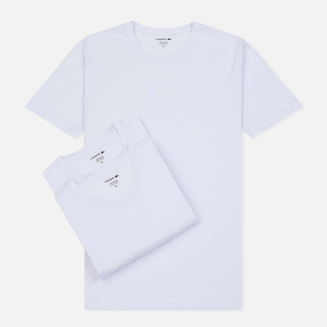 Комплект мужских футболок Lacoste Underwear 3-Pack Classic Fit Crew Neck White