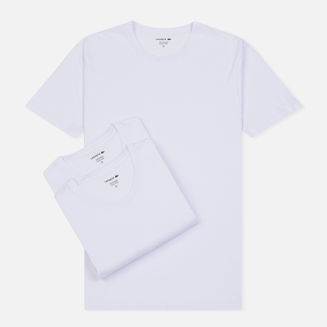 Комплект мужских футболок Lacoste Underwear 3-Pack Classic Fit Crew Neck White