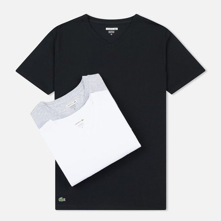 Комплект мужских футболок Lacoste Underwear 3-Pack Crew Neck Black/Grey/White