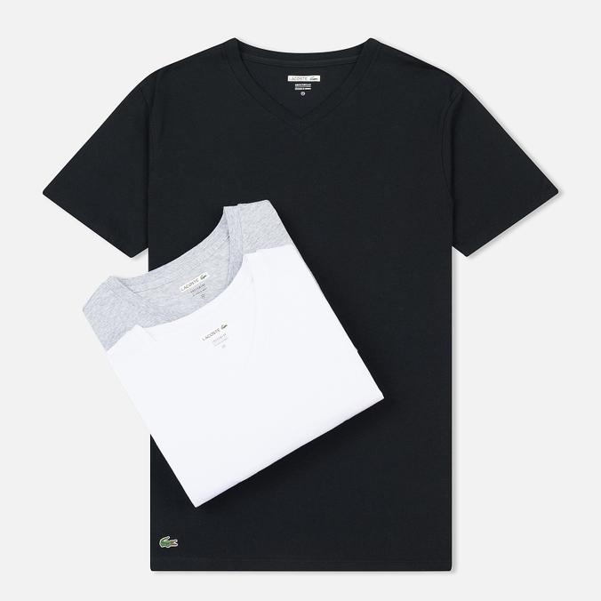 Комплект мужских футболок Lacoste Underwear 3-Pack Crew Neck Black/Grey/White