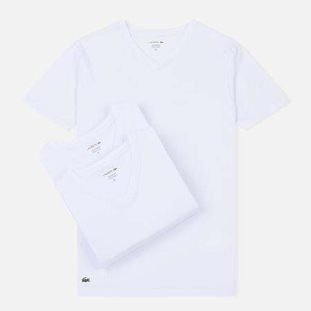 Комплект мужских футболок Lacoste Underwear 3-Pack V-Neck White/White/White