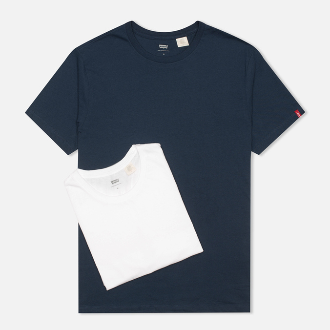 Levi's 2 Pack Crew Neck Men's T-shirt Navy/White