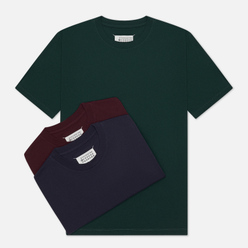 Комплект мужских футболок Maison Margiela 3-Pack Classic Bottle Green/Bordeaux/Navy