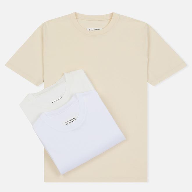 Комплект мужских футболок Maison Margiela 3-Pack Classic White/Off White/Cream