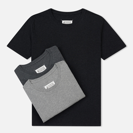 Комплект мужских футболок Maison Margiela 3-Pack Crew Neck Black/Dark Grey/Light Grey