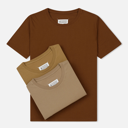 Комплект мужских футболок Maison Margiela 3-Pack Crew Neck Brown/Light Brown/Olive