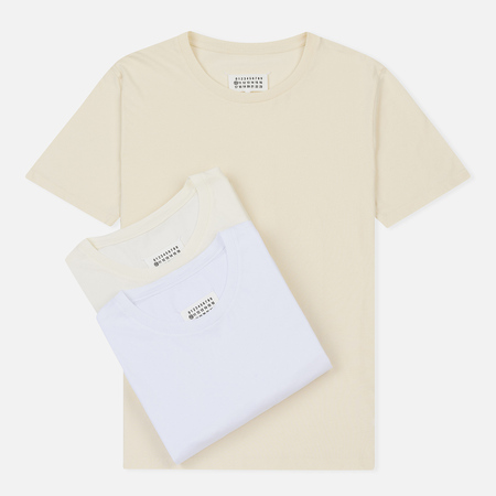 Комплект мужских футболок Maison Margiela 3-Pack Crew Neck White/Ivory/Butter