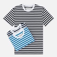 Комплект мужских футболок Maison Margiela 3-Pack Stereotype Stripes White Black/White Palace Blue/White Light Marine фото- 0