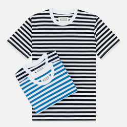 Комплект мужских футболок Maison Margiela 3-Pack Stereotype Stripes White Black/White Palace Blue/White Light Marine