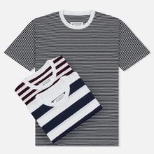 Комплект мужских футболок Maison Margiela 3-Pack Stripes Dark Marine/Bordeaux/Indigo фото- 0