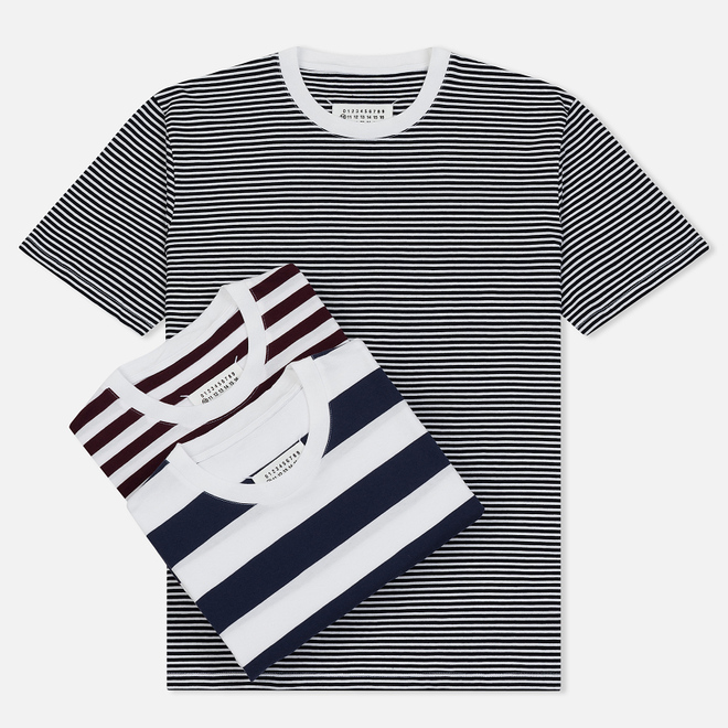 Комплект мужских футболок Maison Margiela 3-Pack Stripes Dark Marine/Bordeaux/Indigo