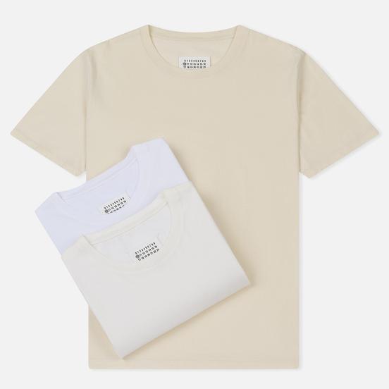 Комплект мужских футболок Maison Margiela Stereotype Crew Neck 3-Pack Off White/Optic White/Cream