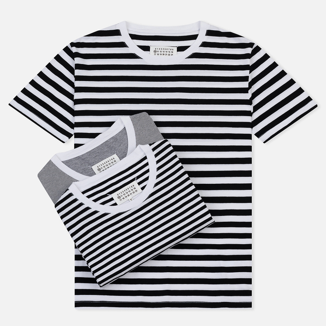 Комплект мужских футболок Maison Margiela Stereotype Stripe Crew Neck 3-Pack Black/White