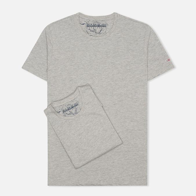 Комплект мужских футболок Napapijri Basic Crew Neck x2 Grey Melange