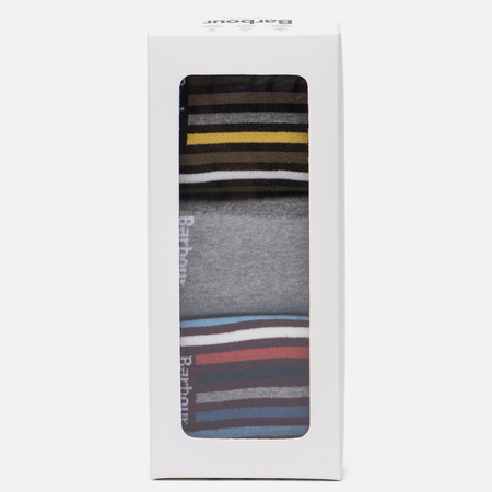Комплект мужских носков Barbour 3-Pack Heywood Striped Gift Box Multicolor
