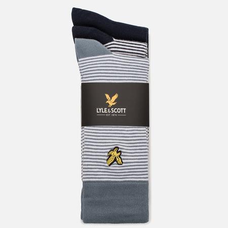 Комплект мужских носков Lyle & Scott Fine Stripe Plain 3 Packs Assorted