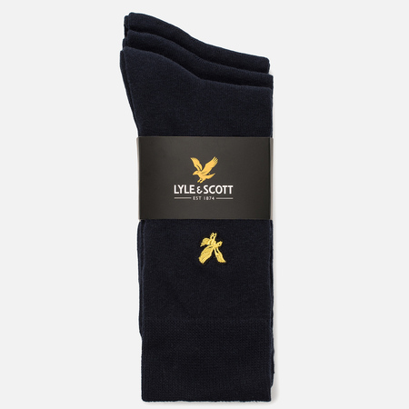Комплект мужских носков Lyle & Scott Plain 3 Packs Dark Navy
