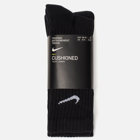 Комплект мужских носков Nike 3-Pack Value Cotton Crew Black/Black/Black