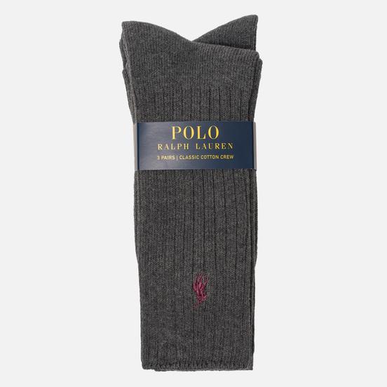Комплект носков Polo Ralph Lauren 3-Pack Classic Crew Charcoal