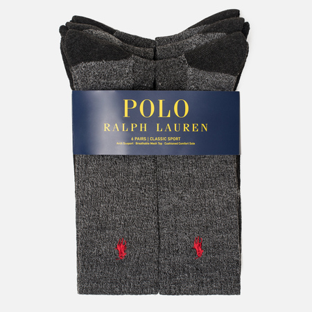 Комплект мужских носков Polo Ralph Lauren 6-Pack Colored Marl Crew Charcoal Heather