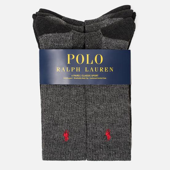 Комплект носков Polo Ralph Lauren 6-Pack Colored Marl Crew Charcoal Heather