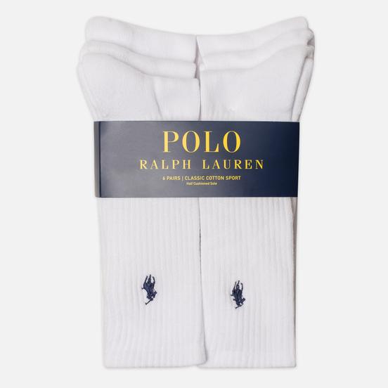 Комплект носков Polo Ralph Lauren 6-Pack Player Embroidered White