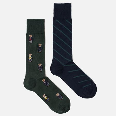 Комплект носков Polo Ralph Lauren Bear And Stripe 2-Pack Hunter Green