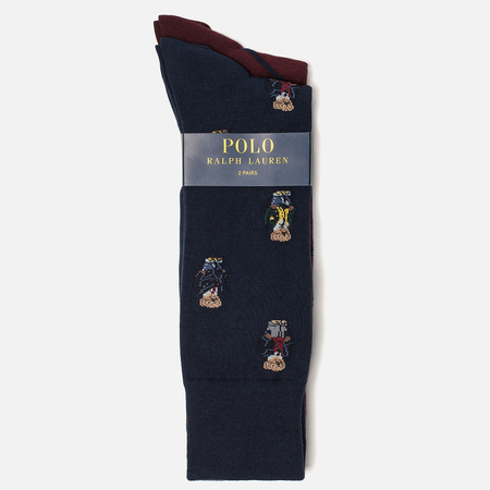 Комплект носков Polo Ralph Lauren Bear And Stripe 2-Pack Navy