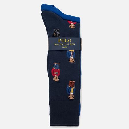 Комплект мужских носков Polo Ralph Lauren Bear/Solid Crew 2-Pack Navy