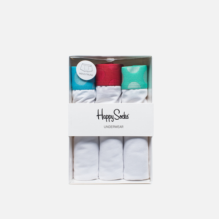 Happy Socks Contrast 3 Pack Men's Boxer Briefs White/Blue/Green/Red